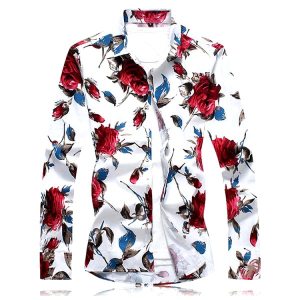 Men's Red & White Deluxe Floral Shirts