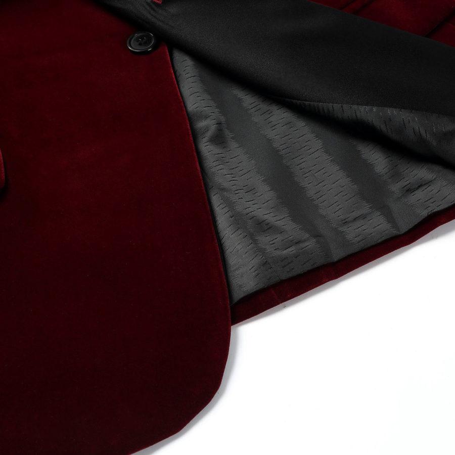 Burgundy Tuxedo Velvet Blazers
