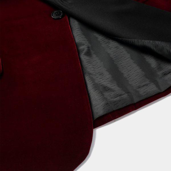 Burgundy Velvet Dinner Jacket Blazer For Wedding-Prom With Black Lapel from Gentlemansguru.com