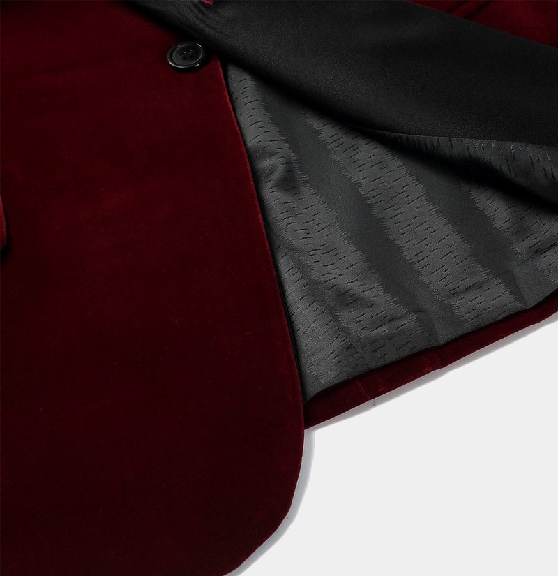 Burgundy Velvet Dinner Jacket Blazer For Wedding-Prom With Black Lapel from Gentlemansguru.com