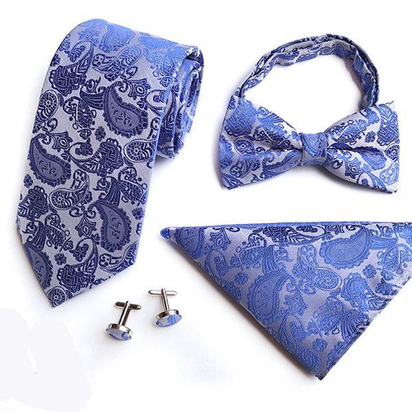 Cobalt Blue Paisley Wedding Tie Set