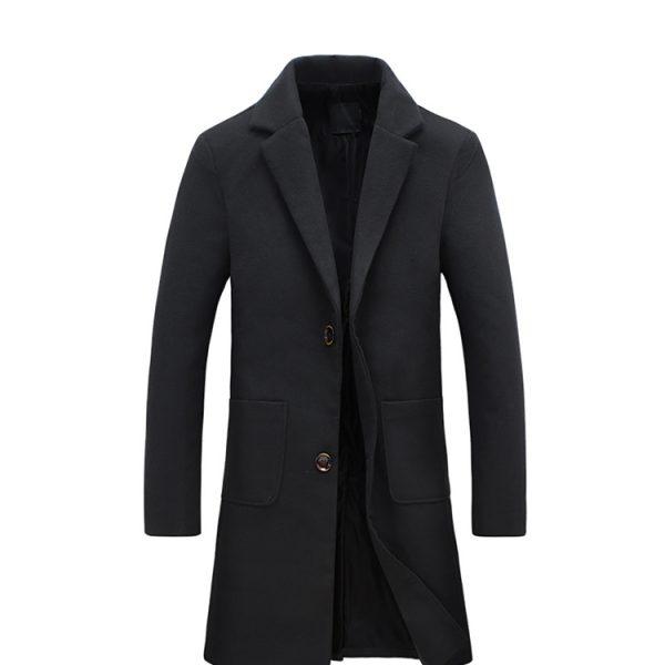 Black Wool Classic Long Overcoat