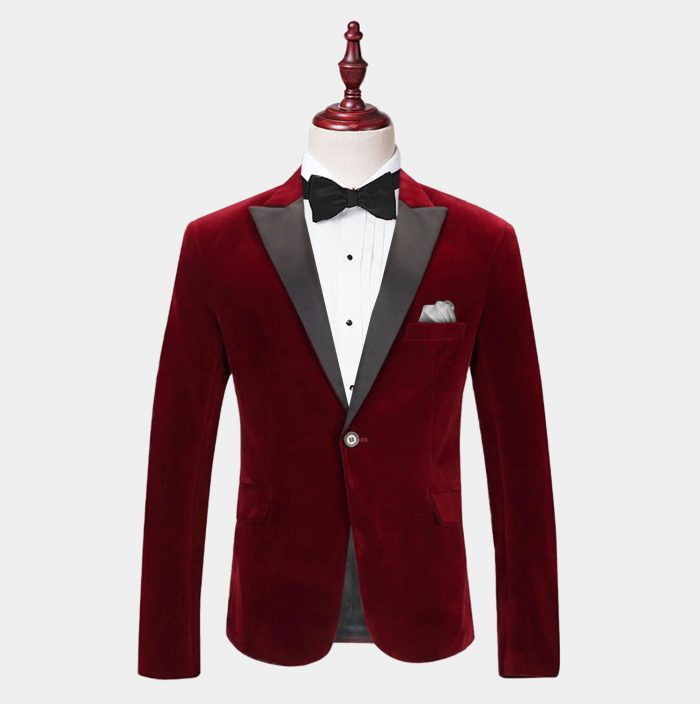 Mens Burgundy Velvet Tuxedo Jacket With Peak Collar