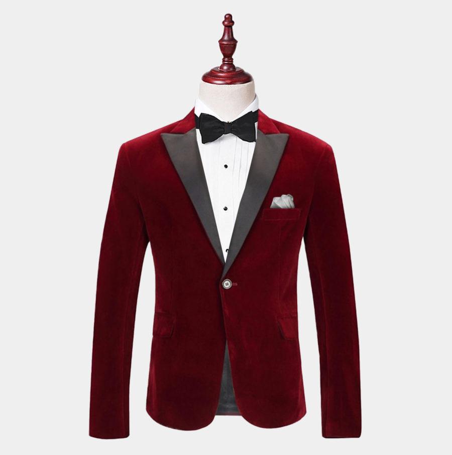 Mens Burgundy Velvet Tuxedo Jacket With Peak Collar