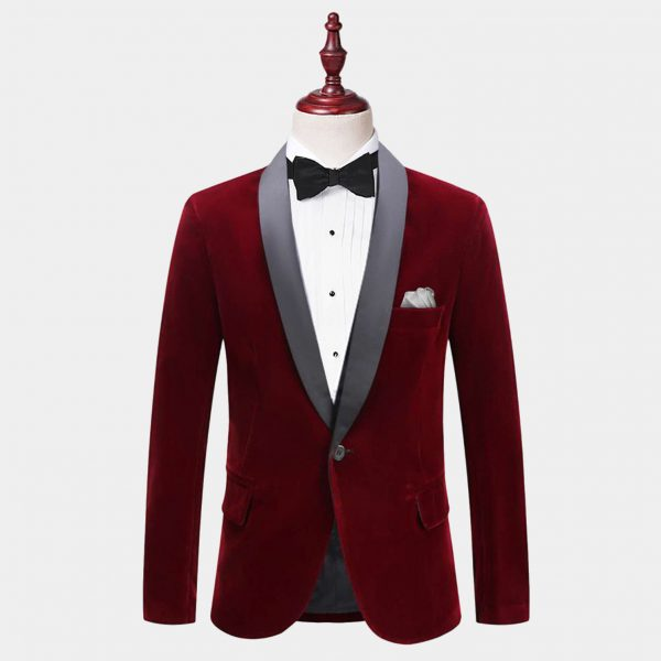 Mens Burgundy Velvet Tuxedo Jacket With Shawl Collar