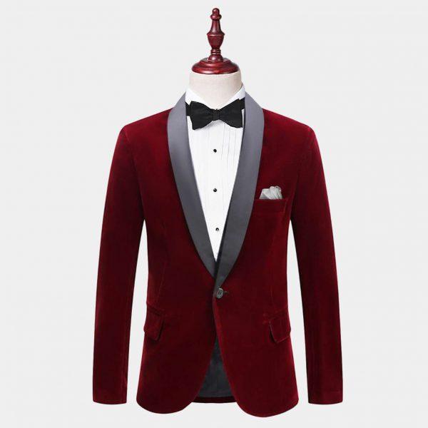Mens Burgundy Velvet Tuxedo Jacket With Shawl Collar