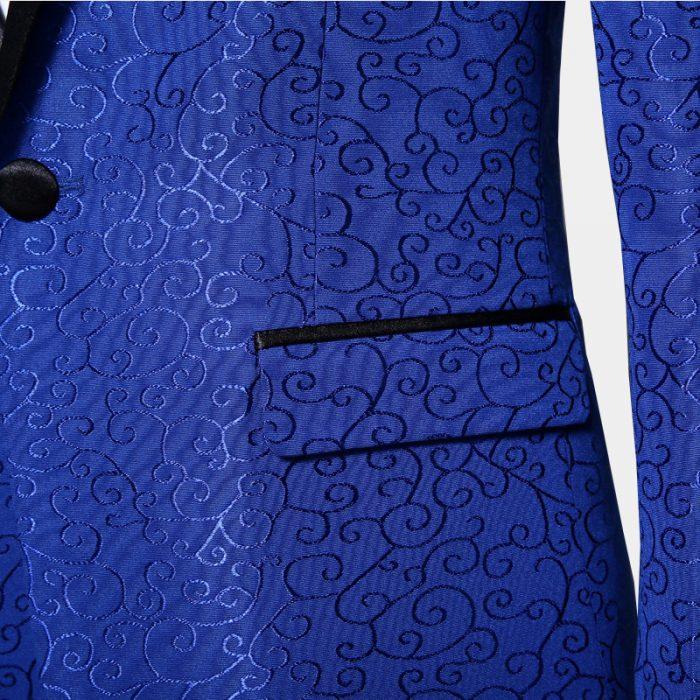Mens Formal Jacquard Tuxedo Jacket With SAtin Lapel
