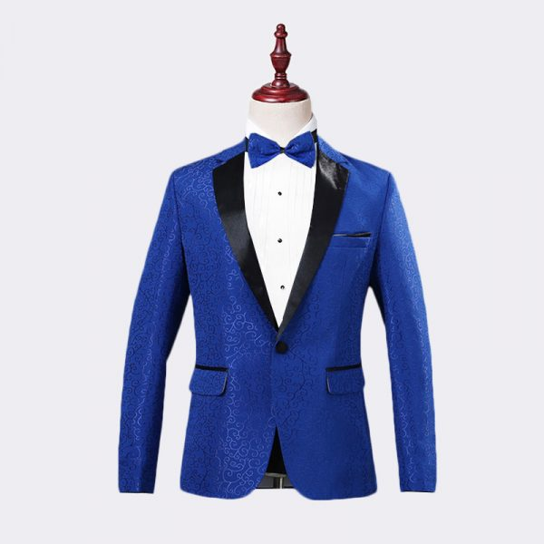Mens Royal Blue Jacquard Tuxedo Jacket
