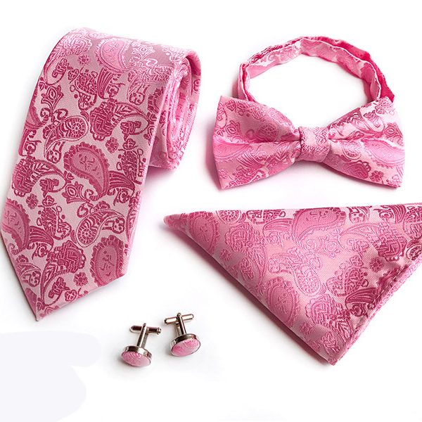 Pink Paisley Wedding Tie Set
