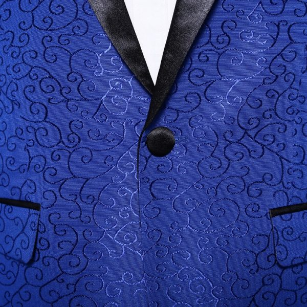 Royal Blue Jacquard Tux Jacket With Bow Tie
