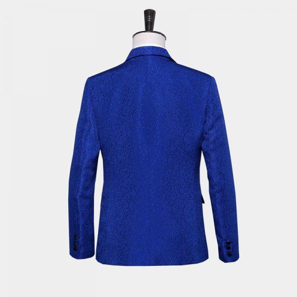 Royal Blue Jacquard Tuxedo Blazer With Paisley Desing