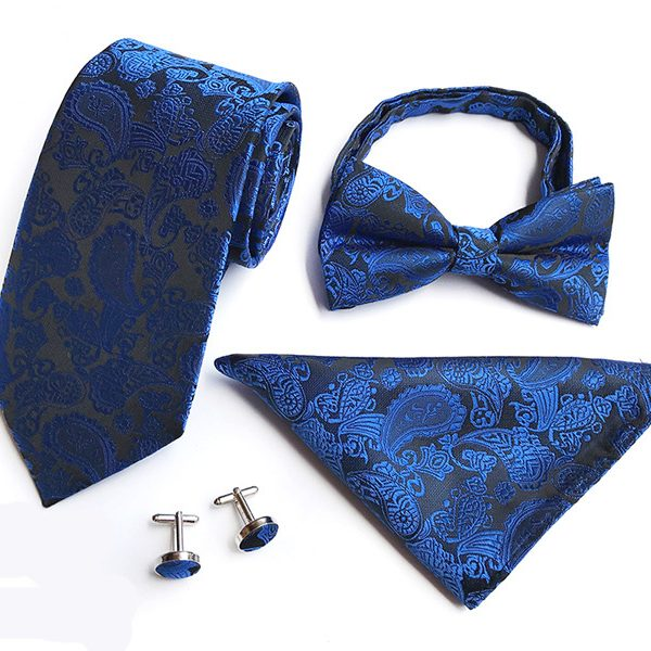 Royal Blue Paisley Wedding Tie Set
