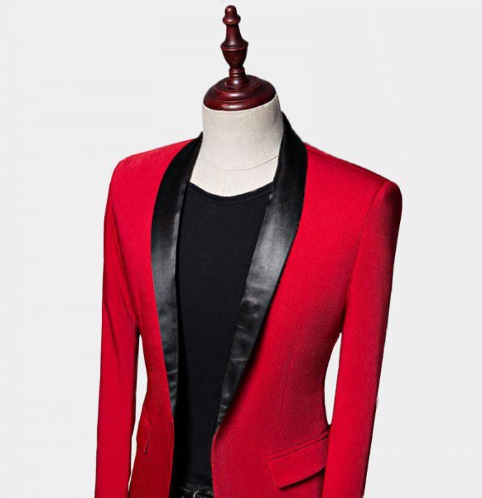 Slim Red Shawl Collar Tuxedo Jacket from Gentlemansguru.com