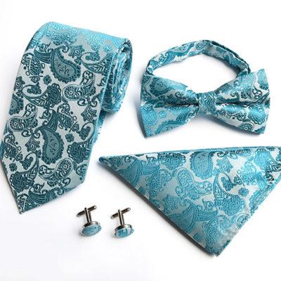 Turquoise Paisley Wedding Tie Set