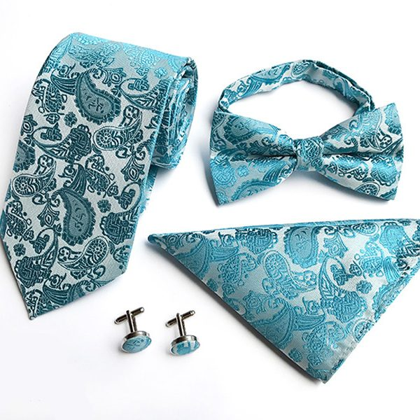 Turquoise Paisley Wedding Tie Set