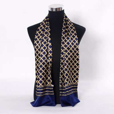 Gold & Blue Silk Scarf for men