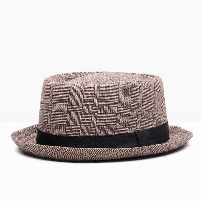Khaki plaid Pork pie hat
