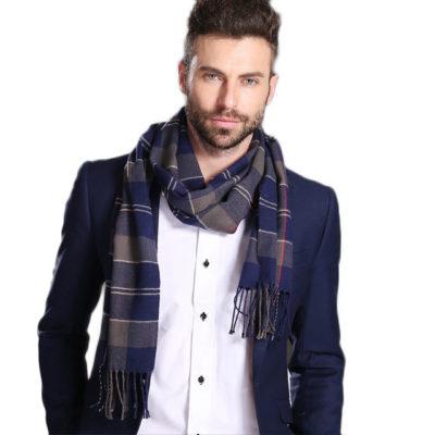 Men's Blue Cotton Tartan Scarfs