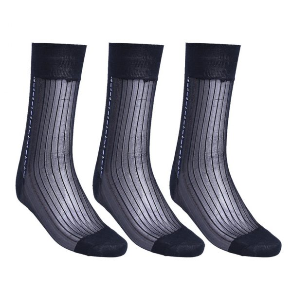 Men's Navy Silk Dress Socks