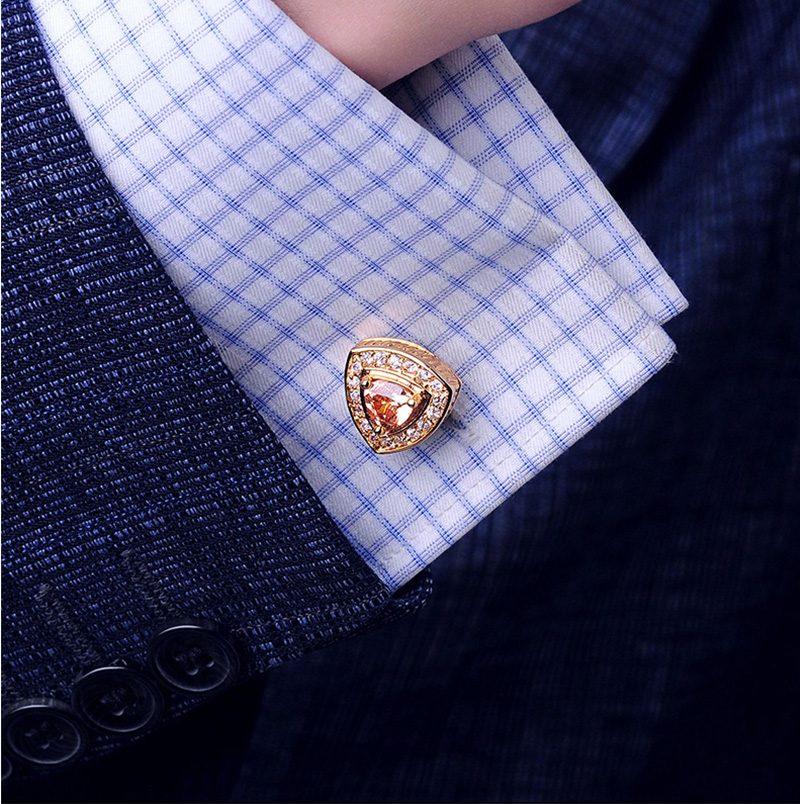 18ct-14k-9ct- Solid Gold Crystal Cufflinks from Gentlemansguru.com