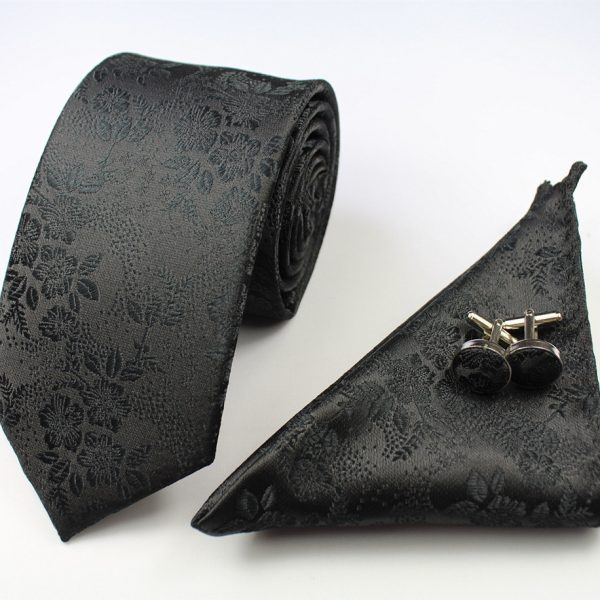 Black Formal Floral Tie Set