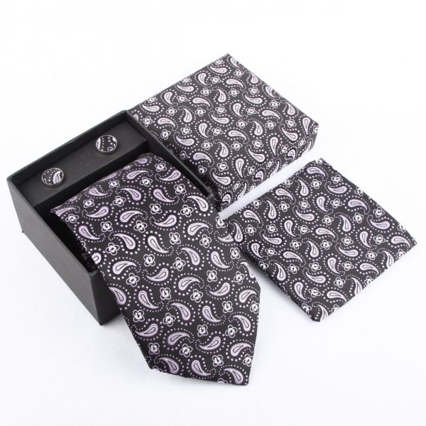 Black Paisley Necktie Set
