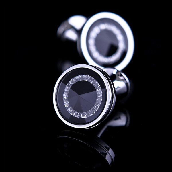 Black Round Cufflinks Set from Gentlemansguru.com