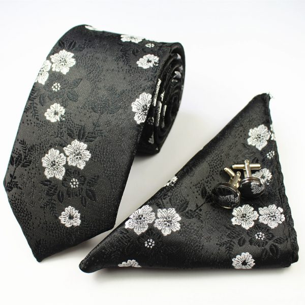 Black & White Formal Floral Tie Set
