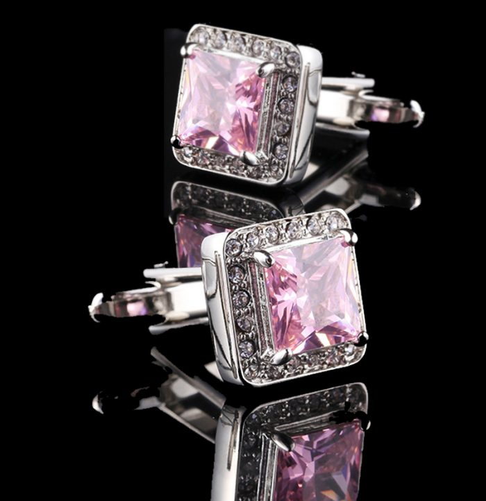 Blush-Pink-Cufflinks-With-Crystal-from-Gentlemansguru.com