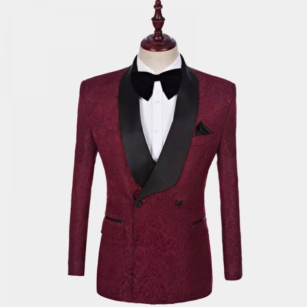 Burgundy Double-Breasted Tuxedo Jacket from Gentlemansguru.com-Récupéré