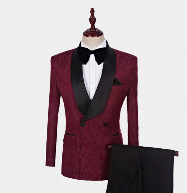 Burgundy Double-Breasted Tuxedo from Gentlemansguru.com