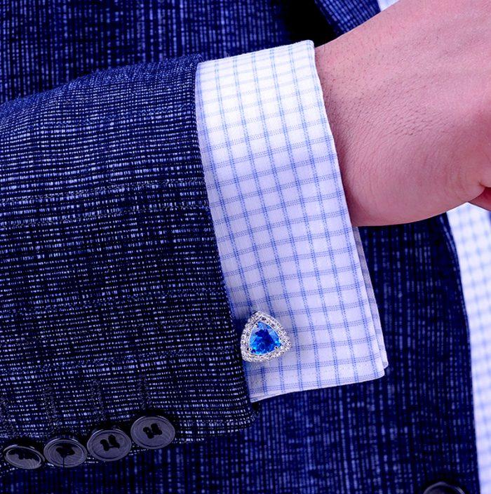 Button Shirt Light Blue French Cuff Shirt Rhinestone Light Blue Cufflinks For Men from Gentlemansguru.com