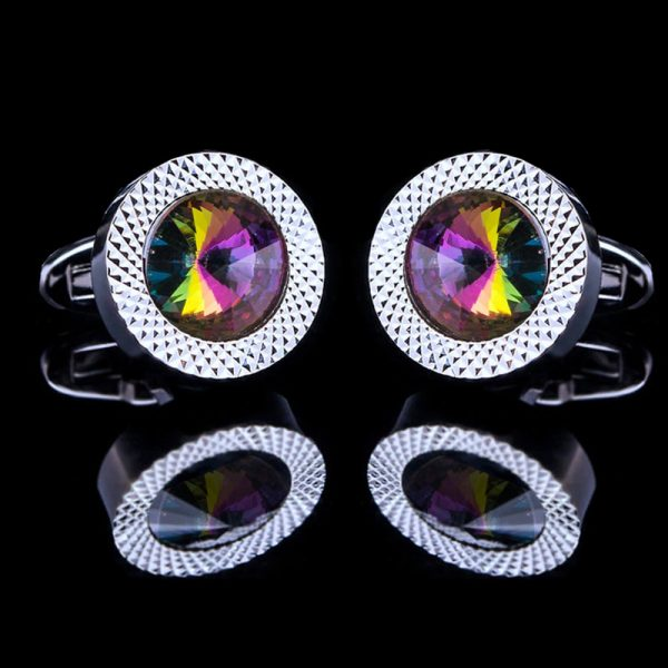 Colorful Cufflinks with Swarovski Crystal and Silve rPlating from Gentlemansguru.com