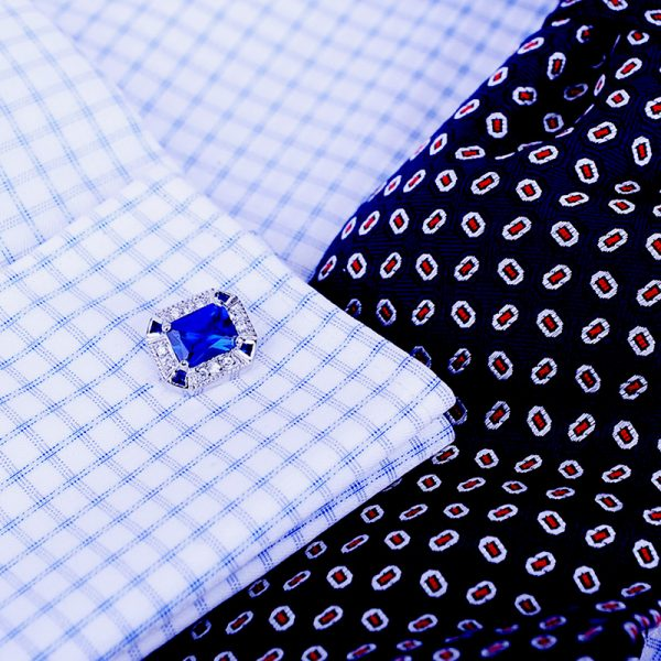 Cornflower Sapphire Blue Cufflinks For Men Real High-Quality from Gentlemansguru.com