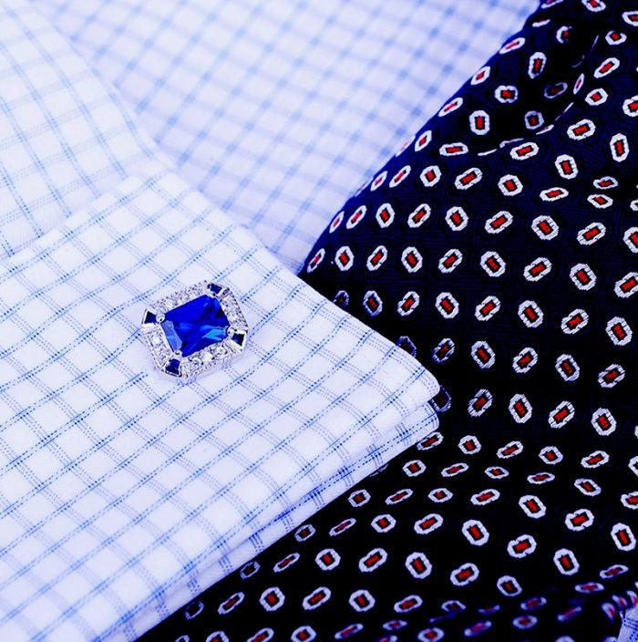 Cornflower Sapphire Blue Cufflinks For Men Real High-Quality from Gentlemansguru.com