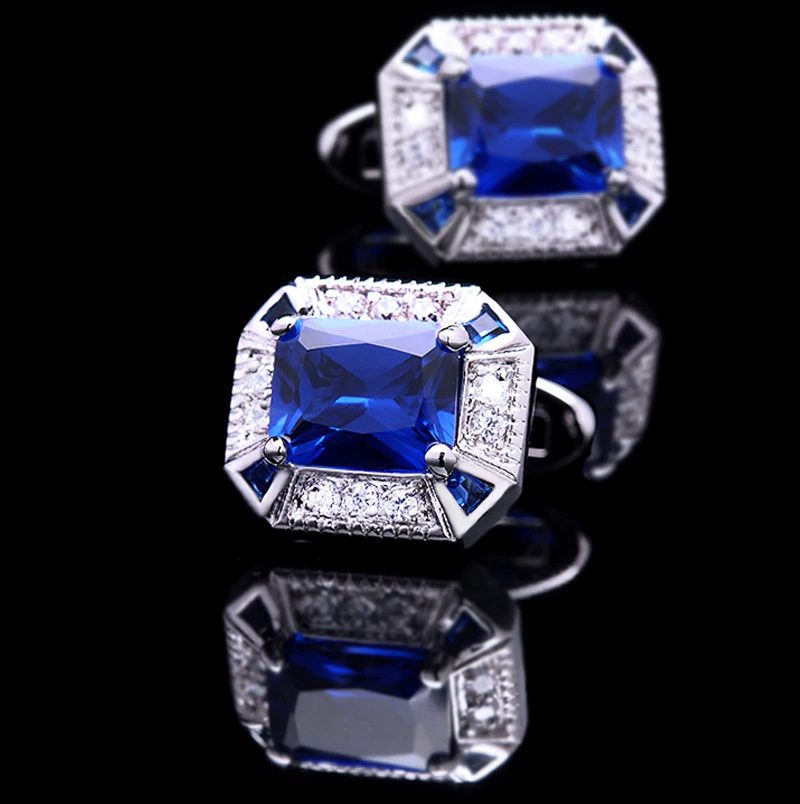 Crystal Blue Sapphire Cufflinks Set from Gentlemansguru.com