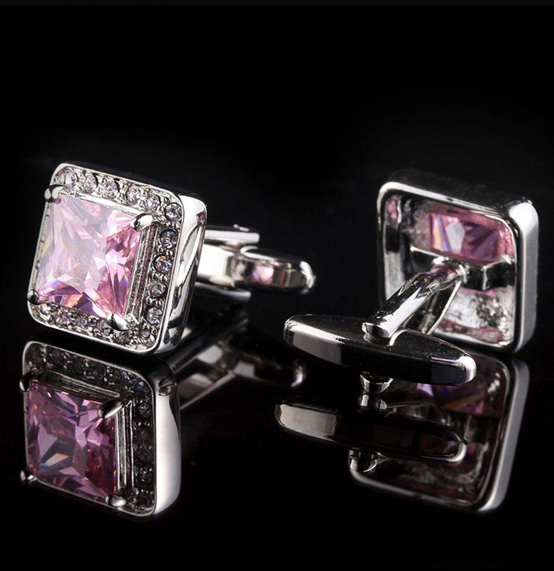 Crystal-Blush-Pink-Cufflinks-Set-from-Gentlemansguru.com