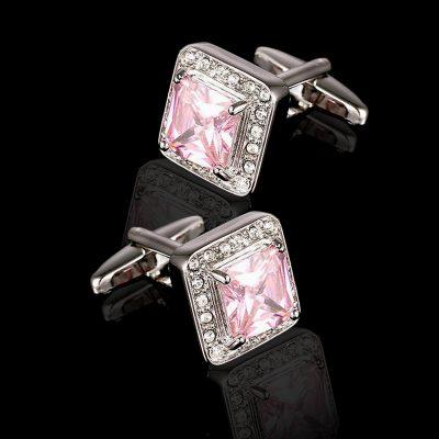 Crystal Blush Pink Cufflinks set from Gentlemansguru.com
