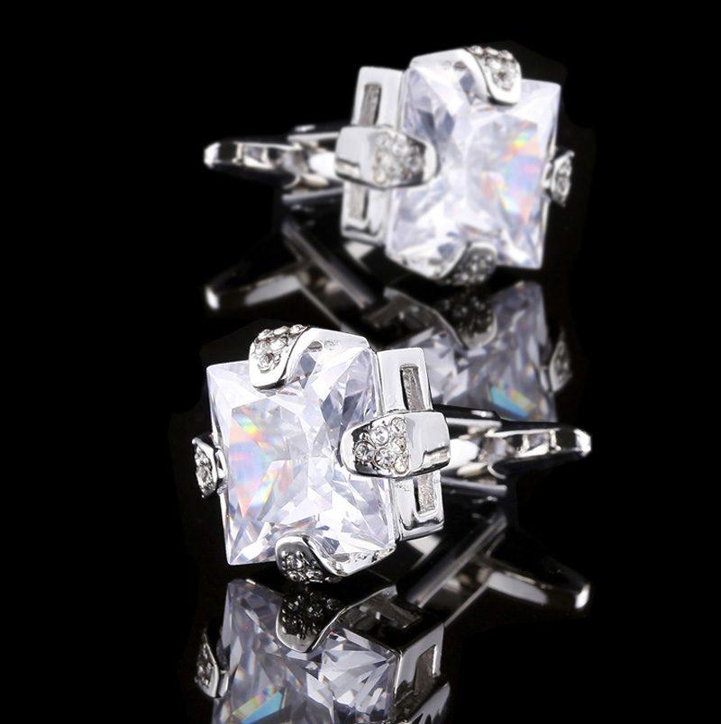 Crystal Cubic Zirconia Cufflinks CZ Cufflinks from Gentlemansguru.com