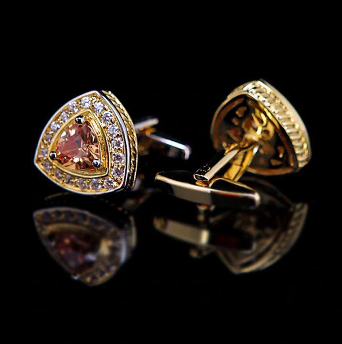 Crystal Gold Plated Cufflinks Wedding Gold Cufflinks from Gentlemansguru.com