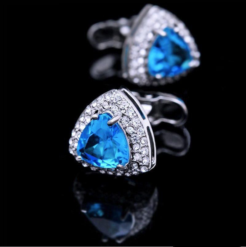 Crystal Rhinestone Light Blue Cufflinks from Gentlemansguru.com