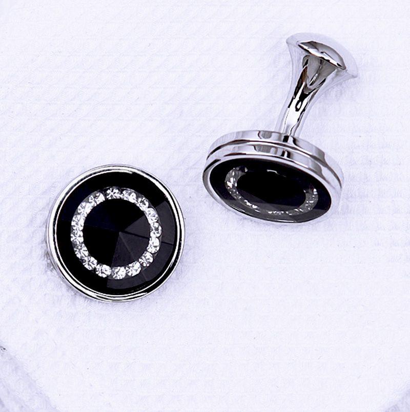 Crystal Round Black Cufflinks Set from Gentlemansguru.com