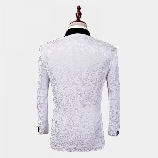 Floral White Wedding Tuxedo Jacket from Gentlemansguru.com