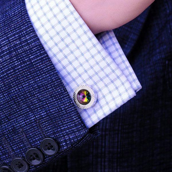0327a848b0ec French Cuff Shirt Colorfull Cufflinks Set with Swarovski Element from  Gentlemansguru.com