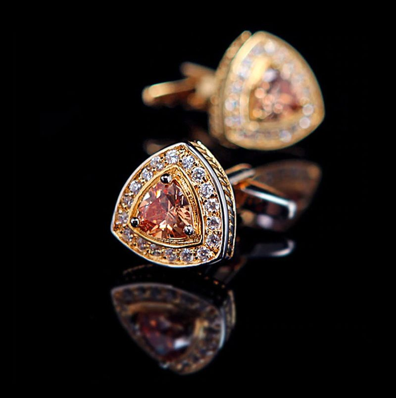 Gold Crystal Cufflinks Set from Gentlemansguru.com
