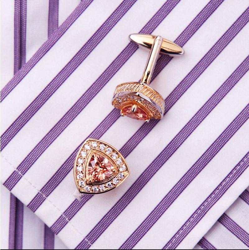 Gold Cufflinks With Diamonds and 18k Gold Plating For Men from Gentlemansguru.com