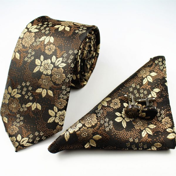 Gold Formal Floral Tie Set