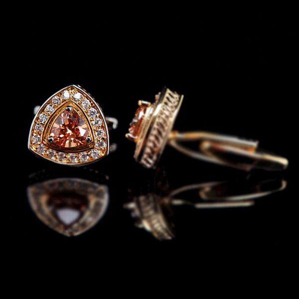 Gold Mens Cufflinks PLated Gold With Swarovski Crystal from Gentlemansguru.com