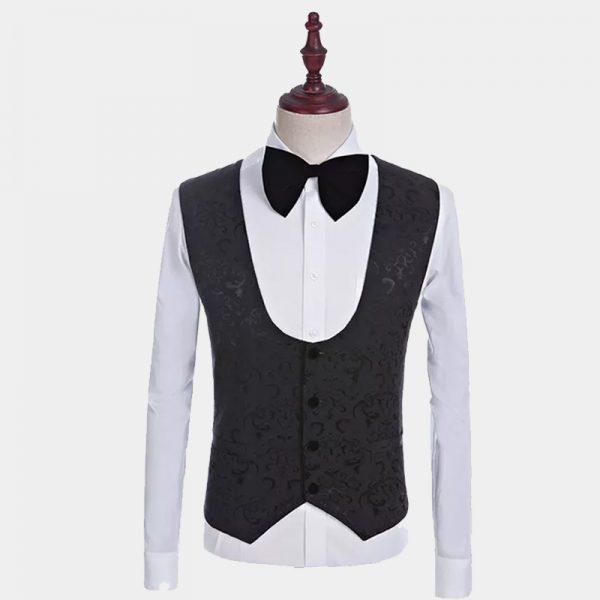 Jacquard Black Floral Tuxedo Vest from Gentlemansguru.com