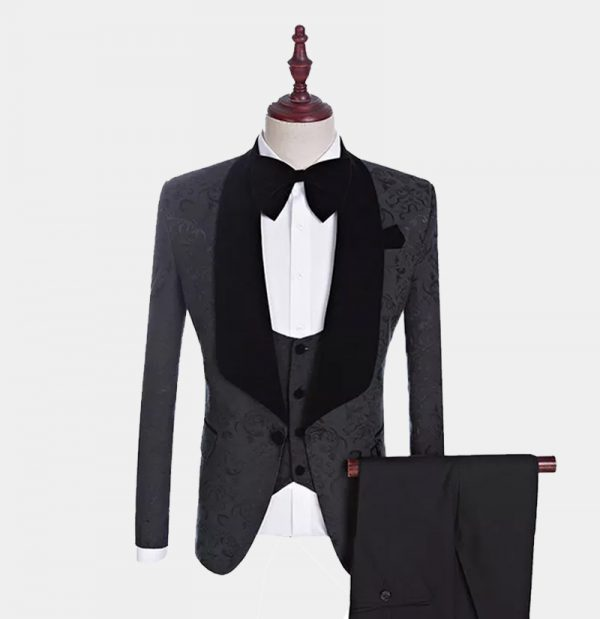Jacquard Black Floral Tuxedo from Gentlemansguru.com